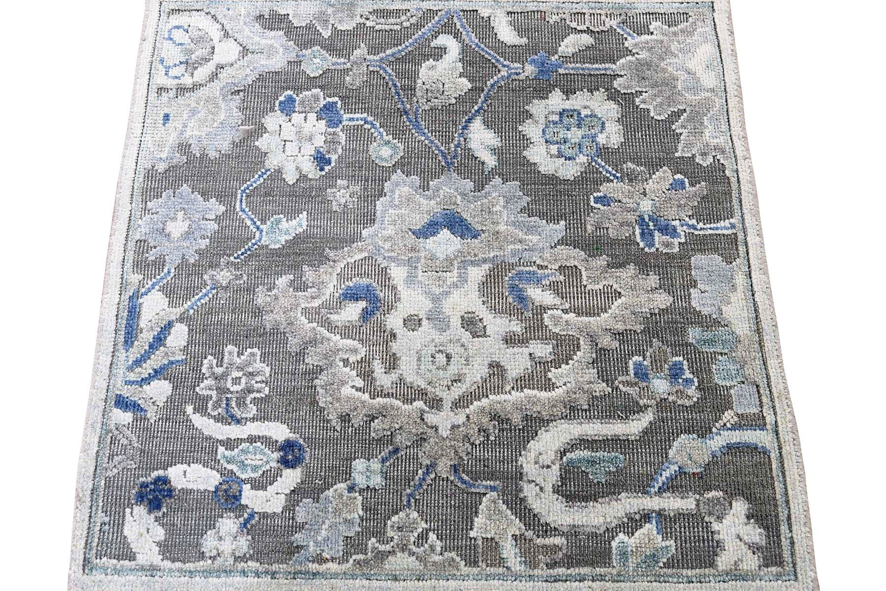 Oushak Influence Pure Silk With Oxidized Wool Hand-Knotted Oriental Sample Rug