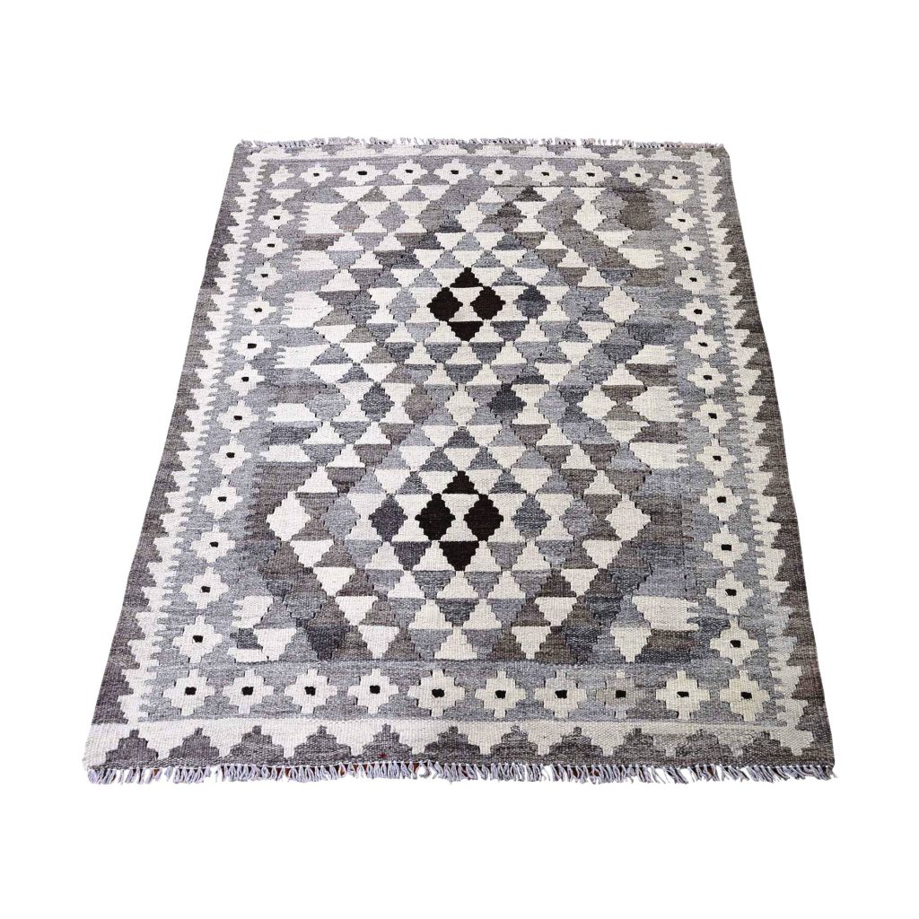 Undyed Natural Wool Afghan Kilim Hand-Woven Oriental Rug